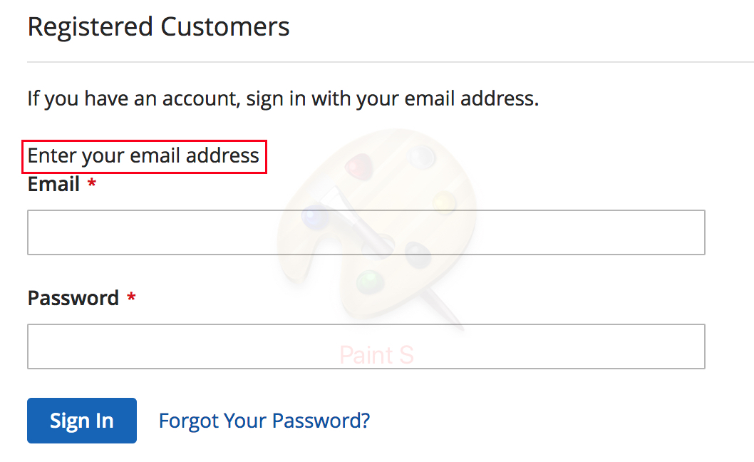 customer login form
