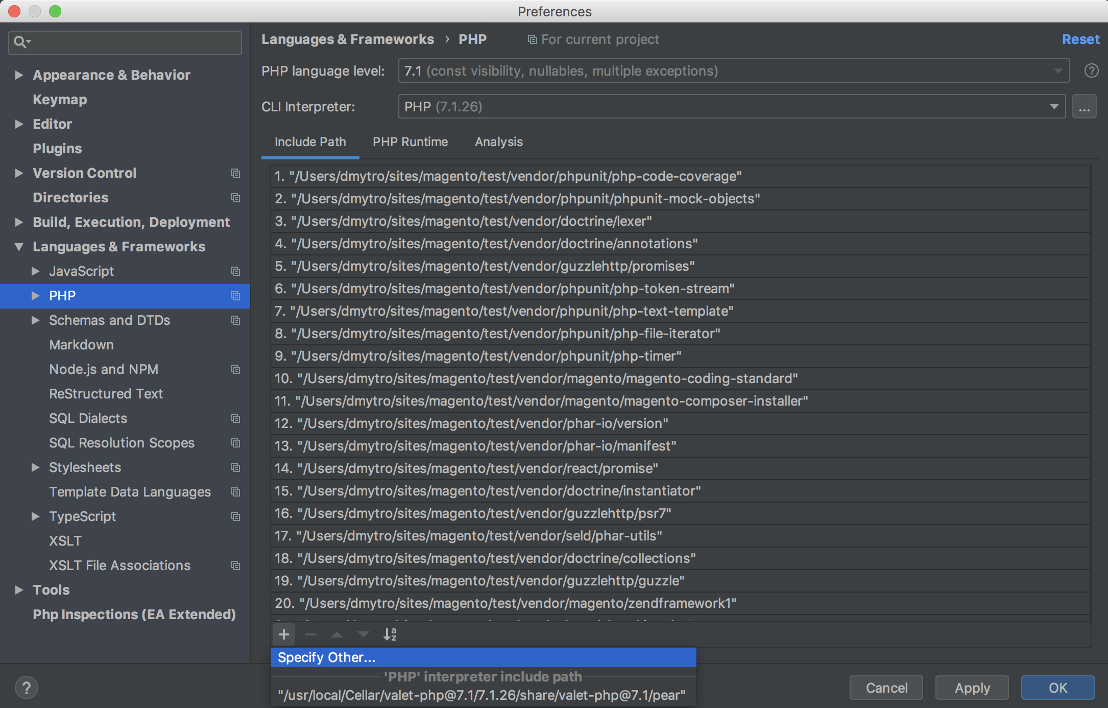 Specify include path in PhpStorm