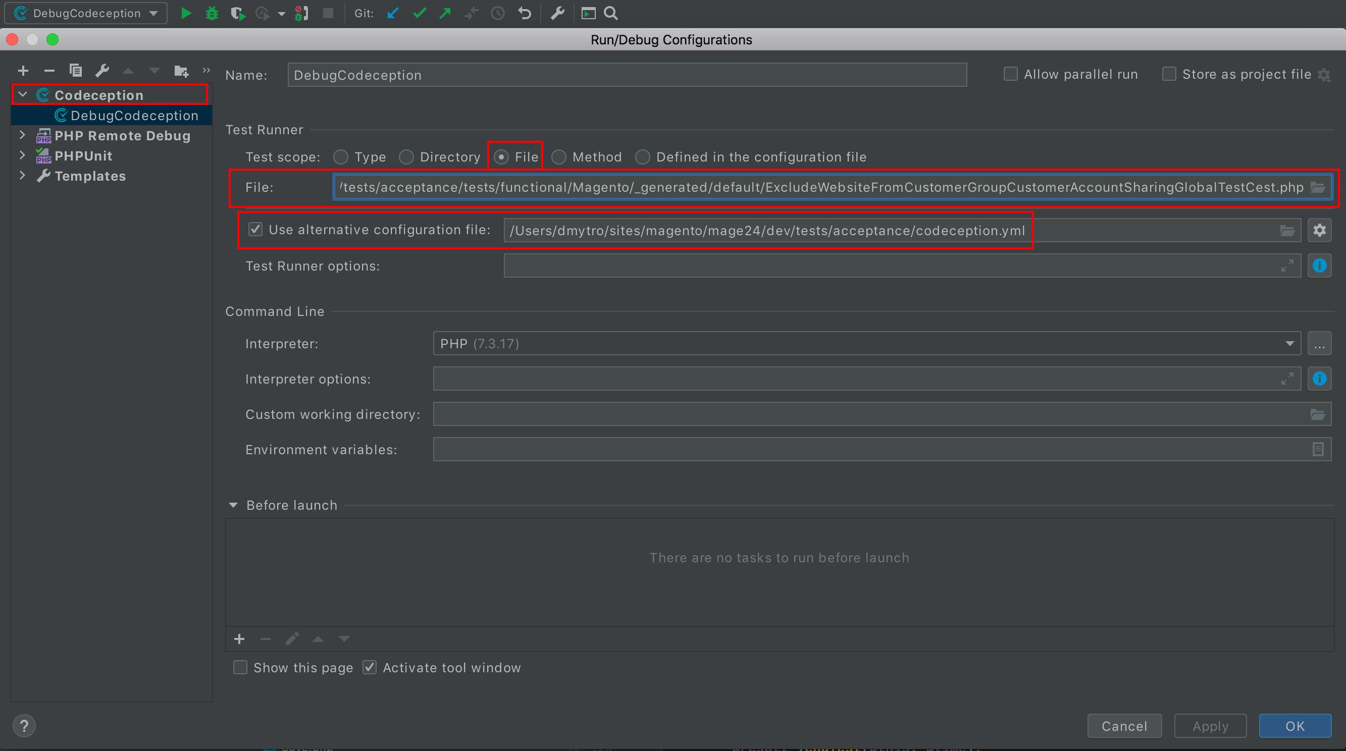 Codeception debug configuration